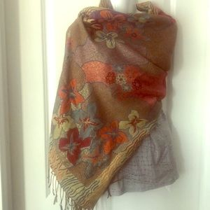 Floral multi-coloured Print Blanket Scarf  27x68""